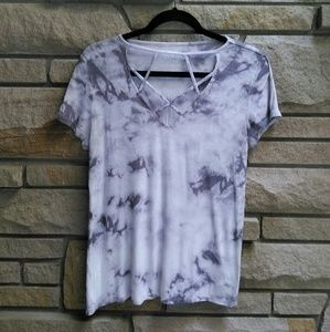 American Eagle soft & sexy ribbed grey tiedye tee